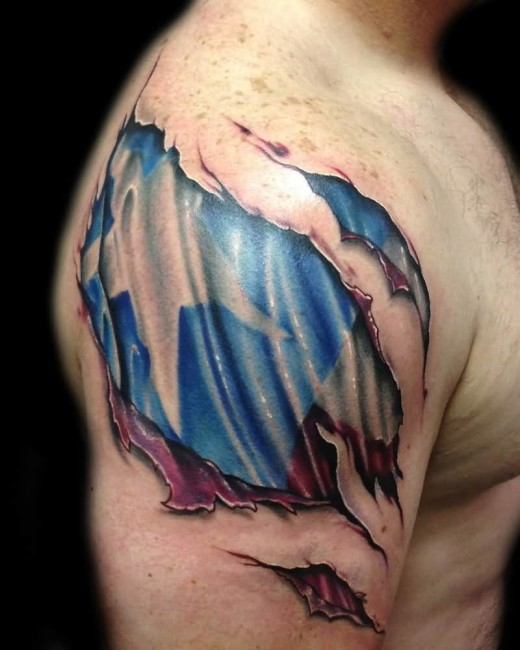 3d ripped skin tattoos and photo ideas page 2 for Ripped skin flag tattoo