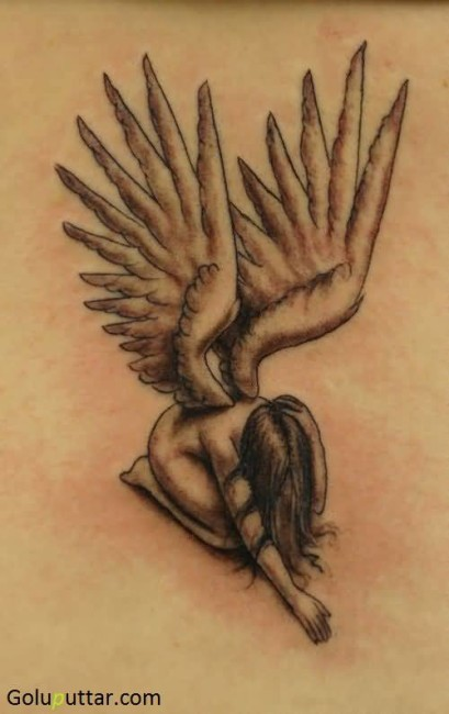 Alone And Sad Angel With Wings Tattoo