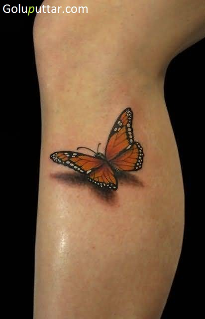 Attractive 3d Butterfly Tattoo On Calf Gp