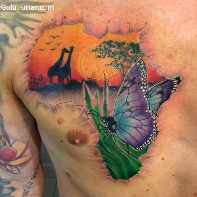African Continent Map Tattoos Designs