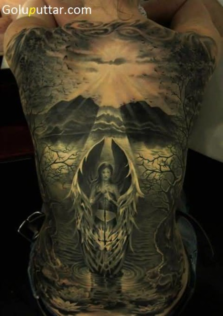 Attractive Skull And Angel Tattoo Collaboration