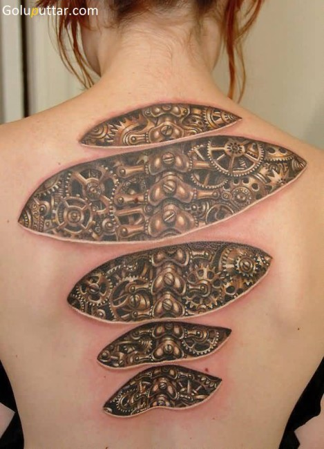 Awesome 3D Back Tattoo Made With Gears And Engines