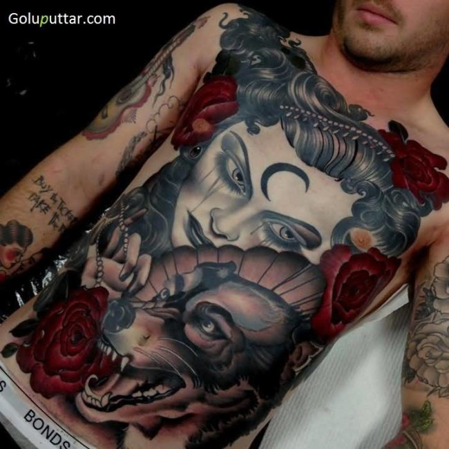 Best 3D Lady And Dog Tattoo On Chest