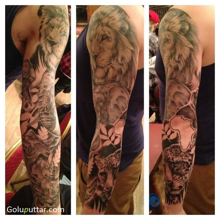 Fabulous African Animal Tattoo On Full Sleeve