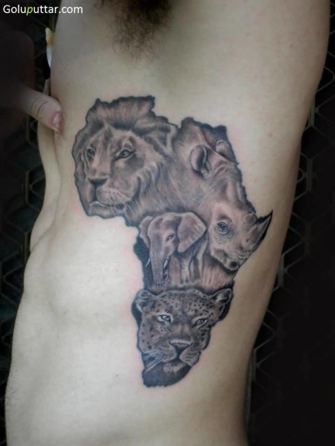 Famous  African Animal Tattoo On Map