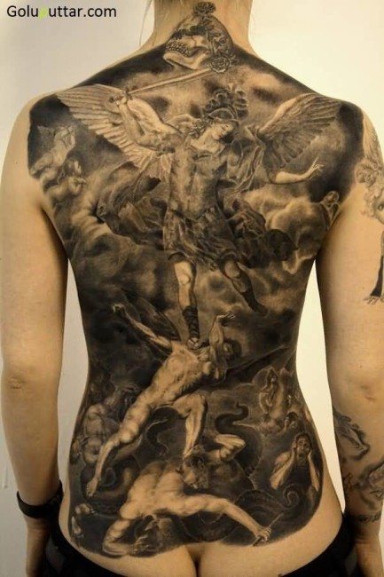 Full Back Cover Up With Realistic Angel Tattoo