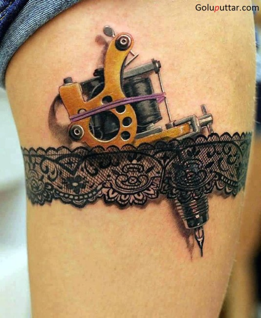 Impressive 3D Tattoo Pen Tattoo On Thigh