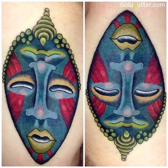 Mind Blowing African Mask Tattoo