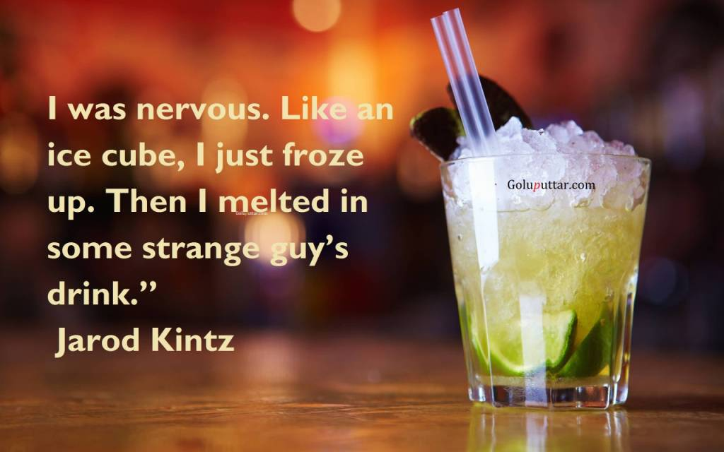 Nice Alcohol Quote – I Was Nervous So Melted In Drink