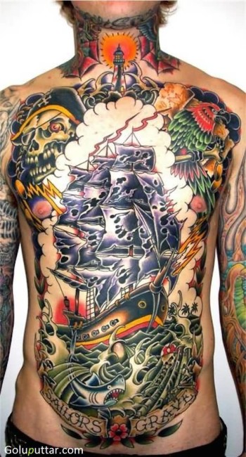 Old Pirates Ship And Shark Tattoo