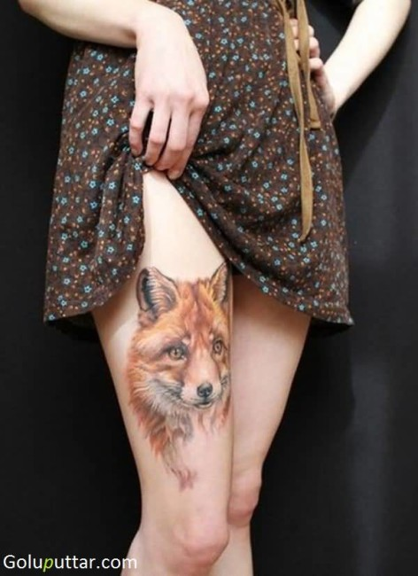 Outstanding African Fox Tattoo For Girl