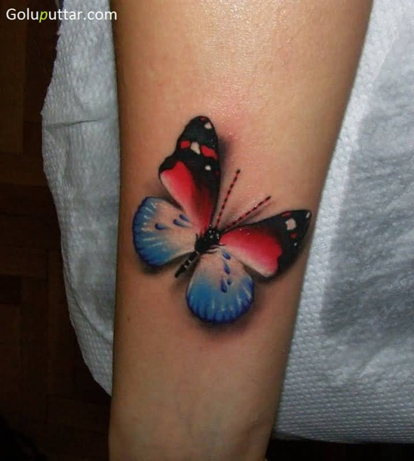 Rare Butterfly Tattoo On Arm