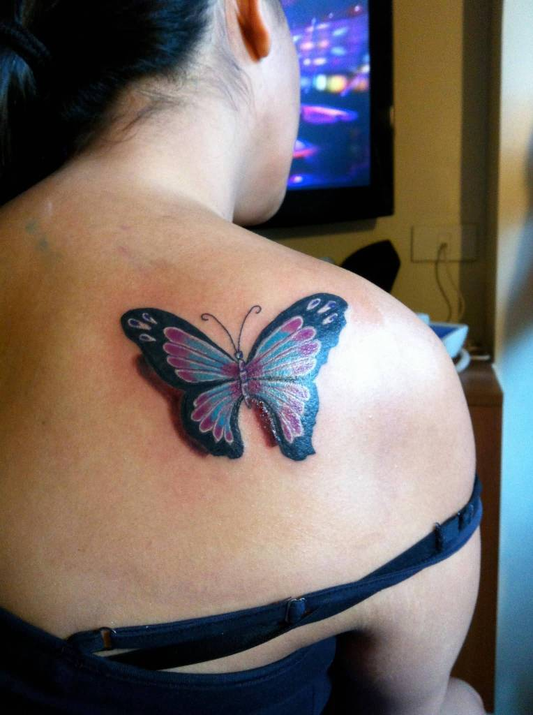 3d butterfly tattoos for Purple butterfly tattoo