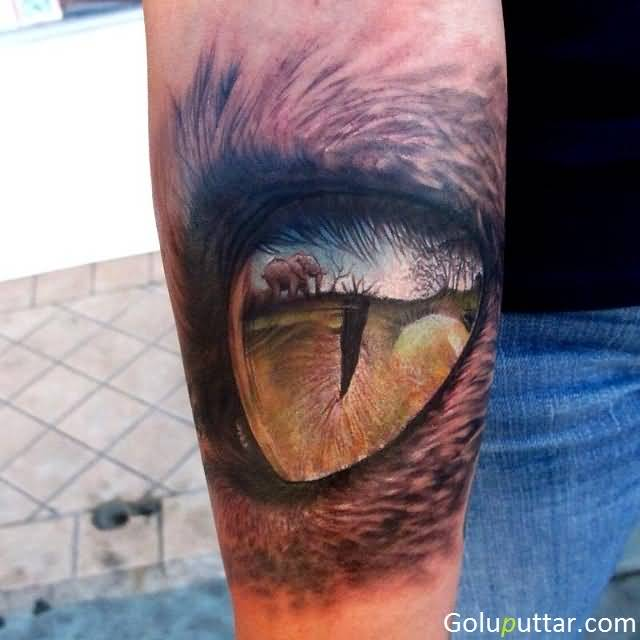 Scary African Lion Eye Tattoo