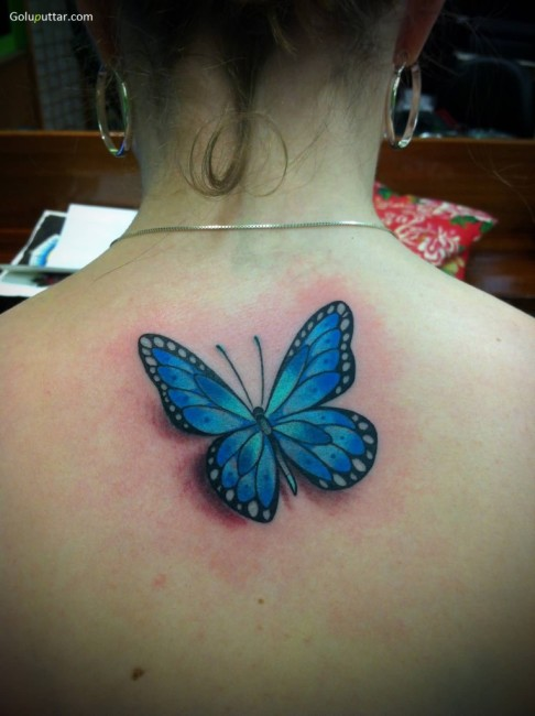 Stunning 3D Blue Butterfly Tattoo