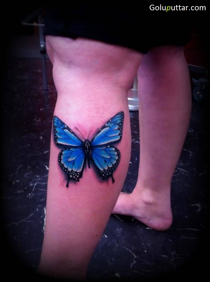 Stunning Blue Butterfly Tattoo On Calf Goluputtar