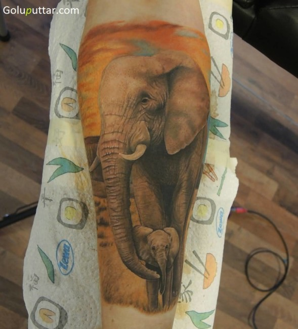 Stunning Tattoo Of African Baby Elephant