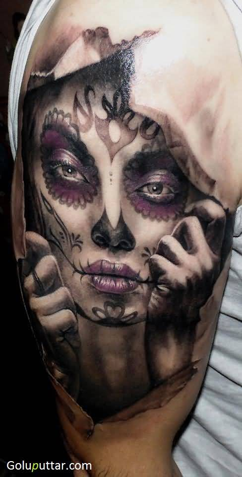 Sugar skull face tattoo on rip skin photos and ideas for Torn skin skull tattoo
