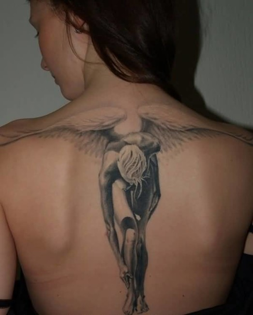 True 3D Tattoo Of Lovely Angel