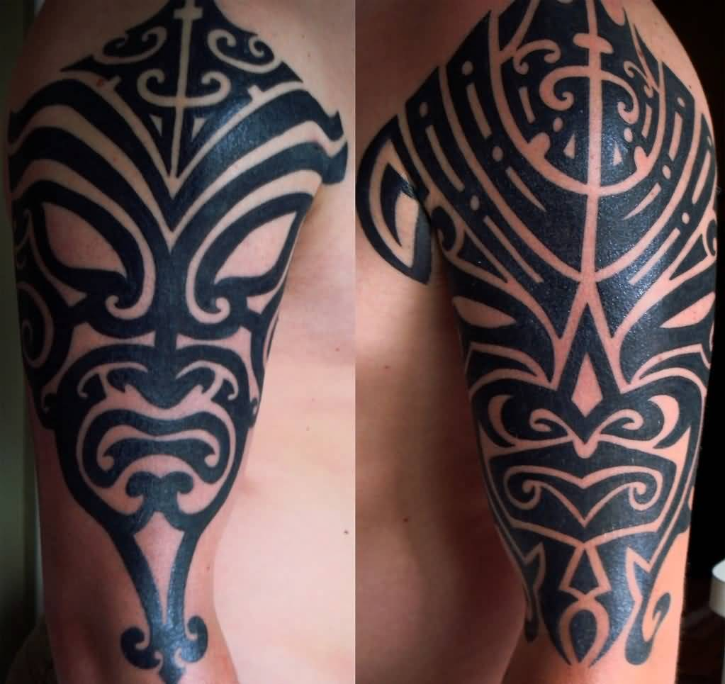 83c6a241cdb48 Unique Mask Tattoo Designs With Tribal Art | Goluputtar