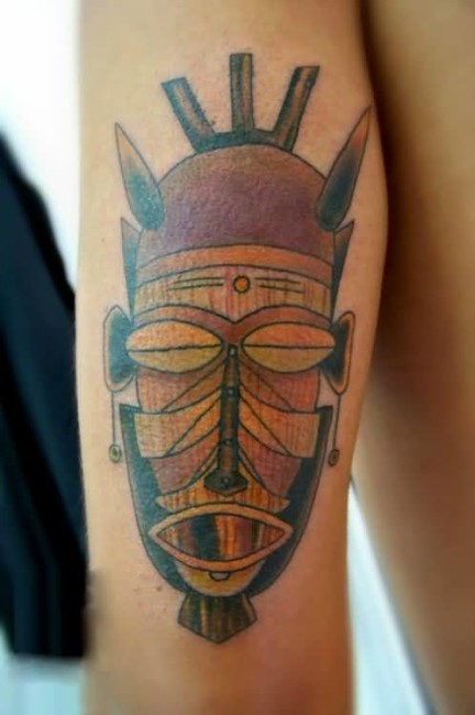 Unique Old African Mask Tatto Made With Realistic Colors
