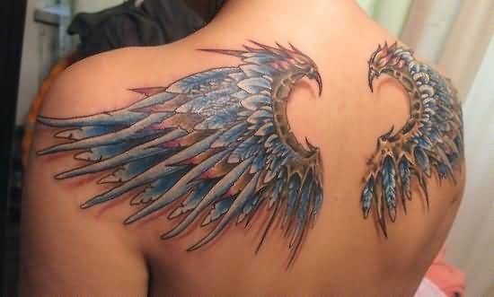 3d angel wings tattoo on cool back photos and ideas. Black Bedroom Furniture Sets. Home Design Ideas