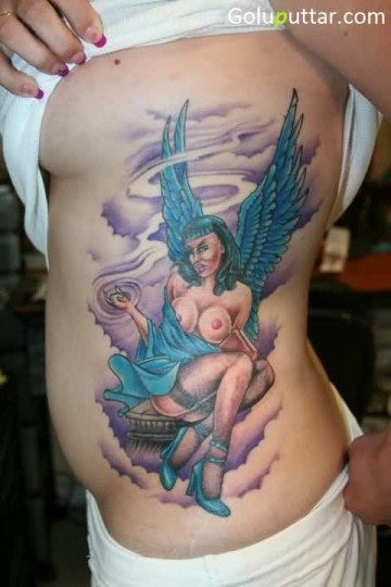 3D Female Angel Tattoo On Rib Side - Copy