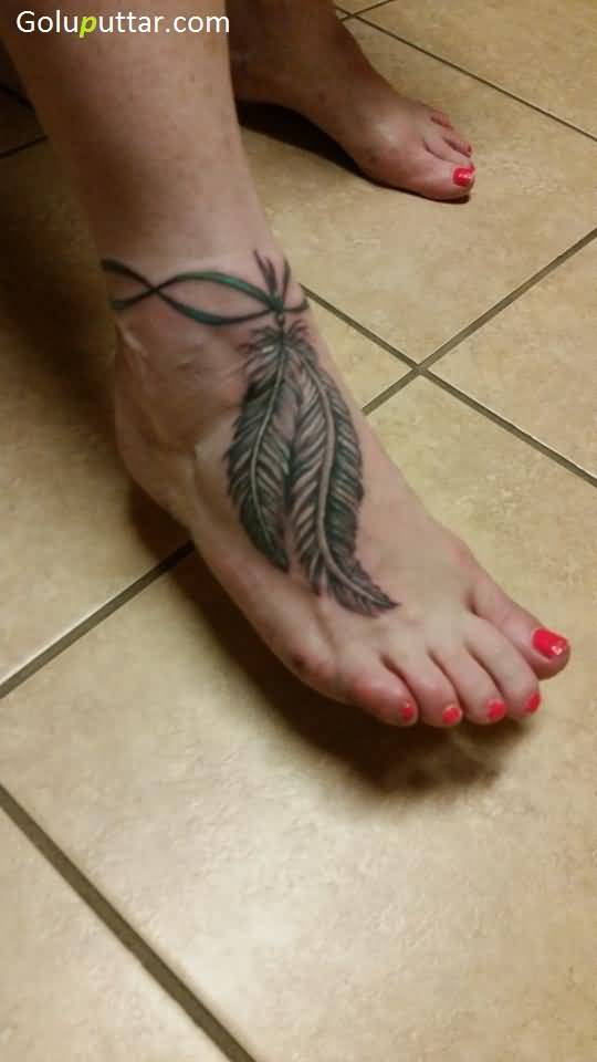 Feather ankle tattoos for Feather on foot tattoo