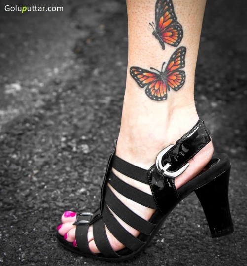 Latest Orange Butterfly Tattoo On Ankle - Copy