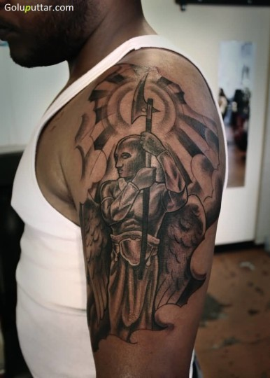 Attractive Angel Warrior Tattoo On Sleeve - Copy