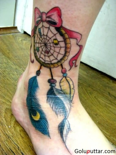 Attractive Dream Catcher With Feathers Tattoo On Ankle - Copy
