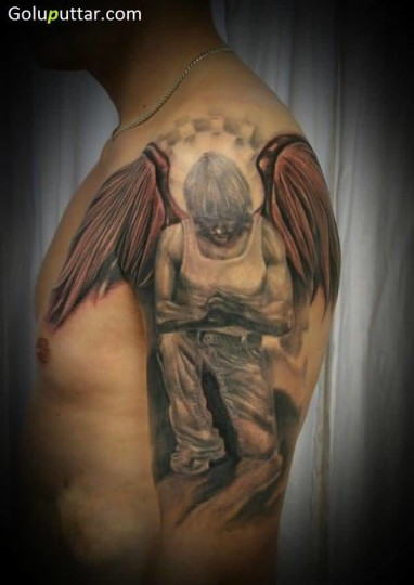Awesome Angel Tattoo Design On Sleeve - Copy