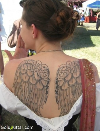 Awesome Angel Wings Tattoo For Charming Girl - Copy