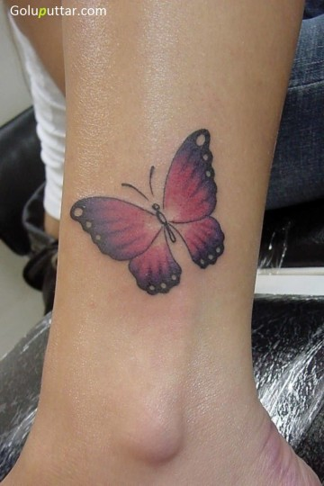 Awesome Ankle Tattoo Of 3D Butterfly - Copy