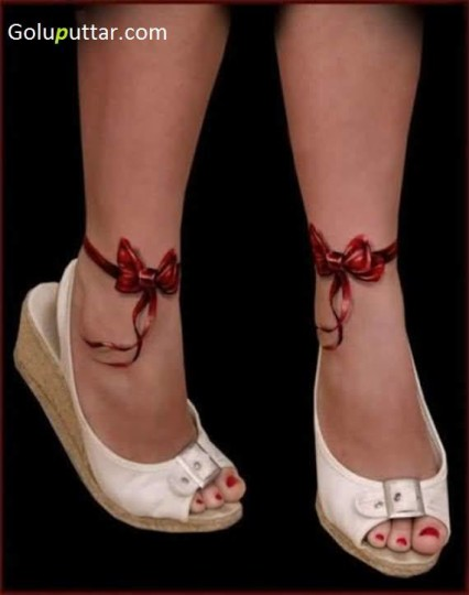 Awesome Ankle Tattoo Of Bow - Copy