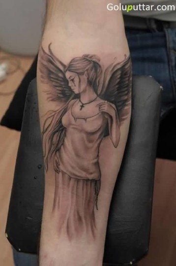 Awesome Crying Angel With Cross Tattoo - Copy