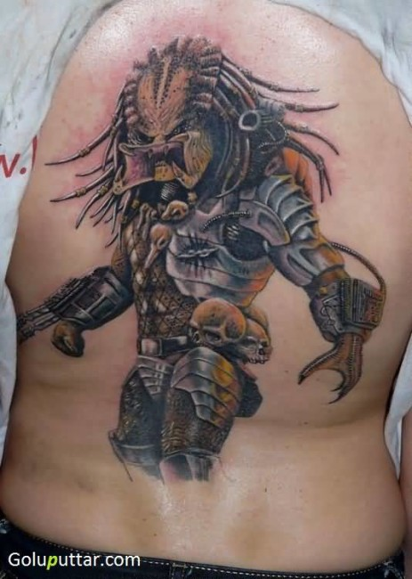 Awesome Predator And Skull Tattoo With Scary Mouth