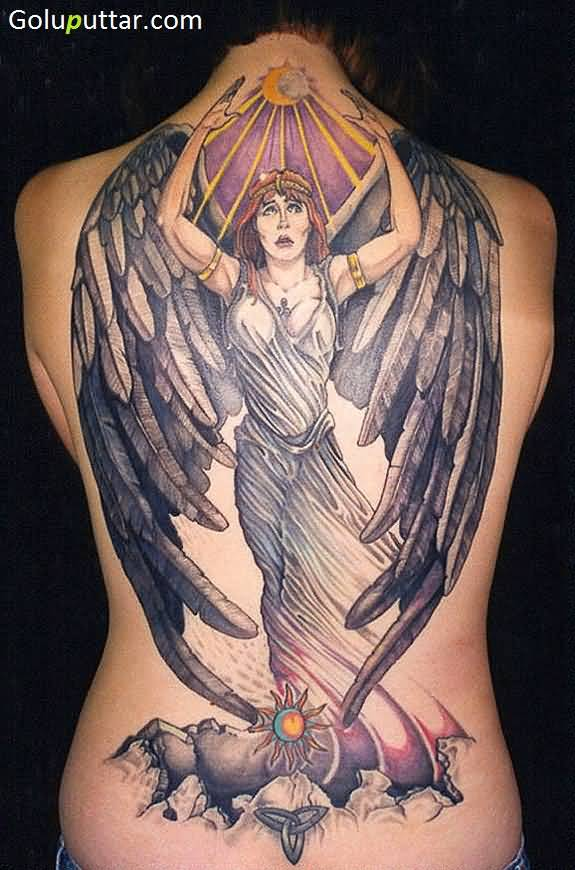 Beautiful Back Cover Up With Animated Angel Tattoo