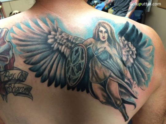 Beautiful Back Decorated With Lovely Angel Girl Tattoo - Copy