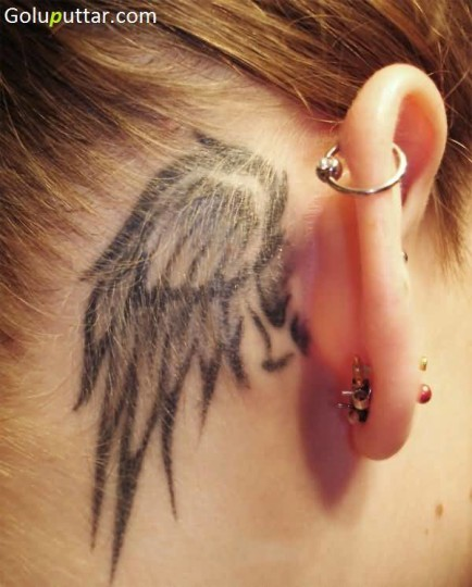Beautiful Ear Decorated With Angel Wing Tattoo - Copy
