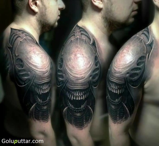 Best Alien Tattoo On Shoulder For Man