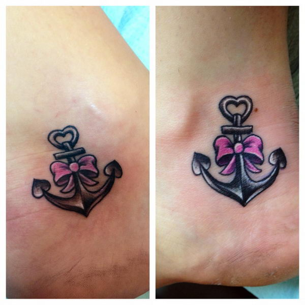 Brilliant Anchor And Bow Tattoo Design On Ankle