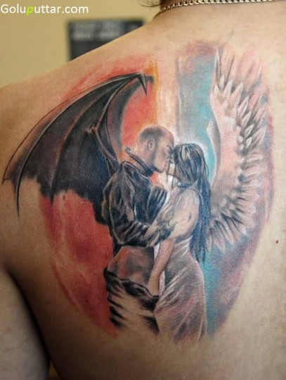 Brilliant Angel And Devil Tattoo On Back - Copy