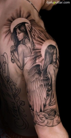 Brilliant Baby And Angel Sleeve Tattoo For Man - Copy