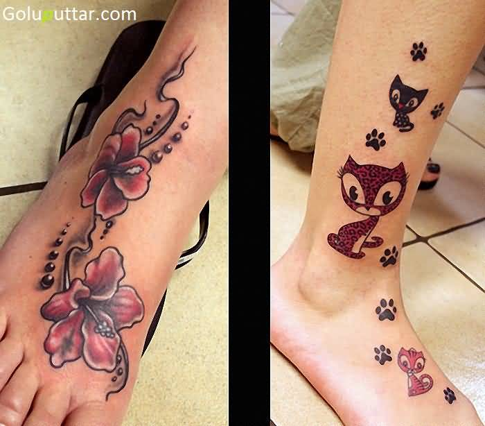 Ankle flower tattoos stock goluputtar for Cool cover up tattoos