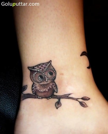 Cute Baby Owl Tattoo On Ankle - Copy