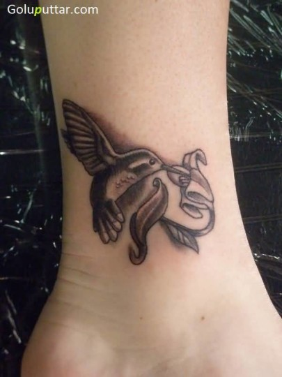 Cute Flying Bird And Flower Tattoo On Ankle - Copy