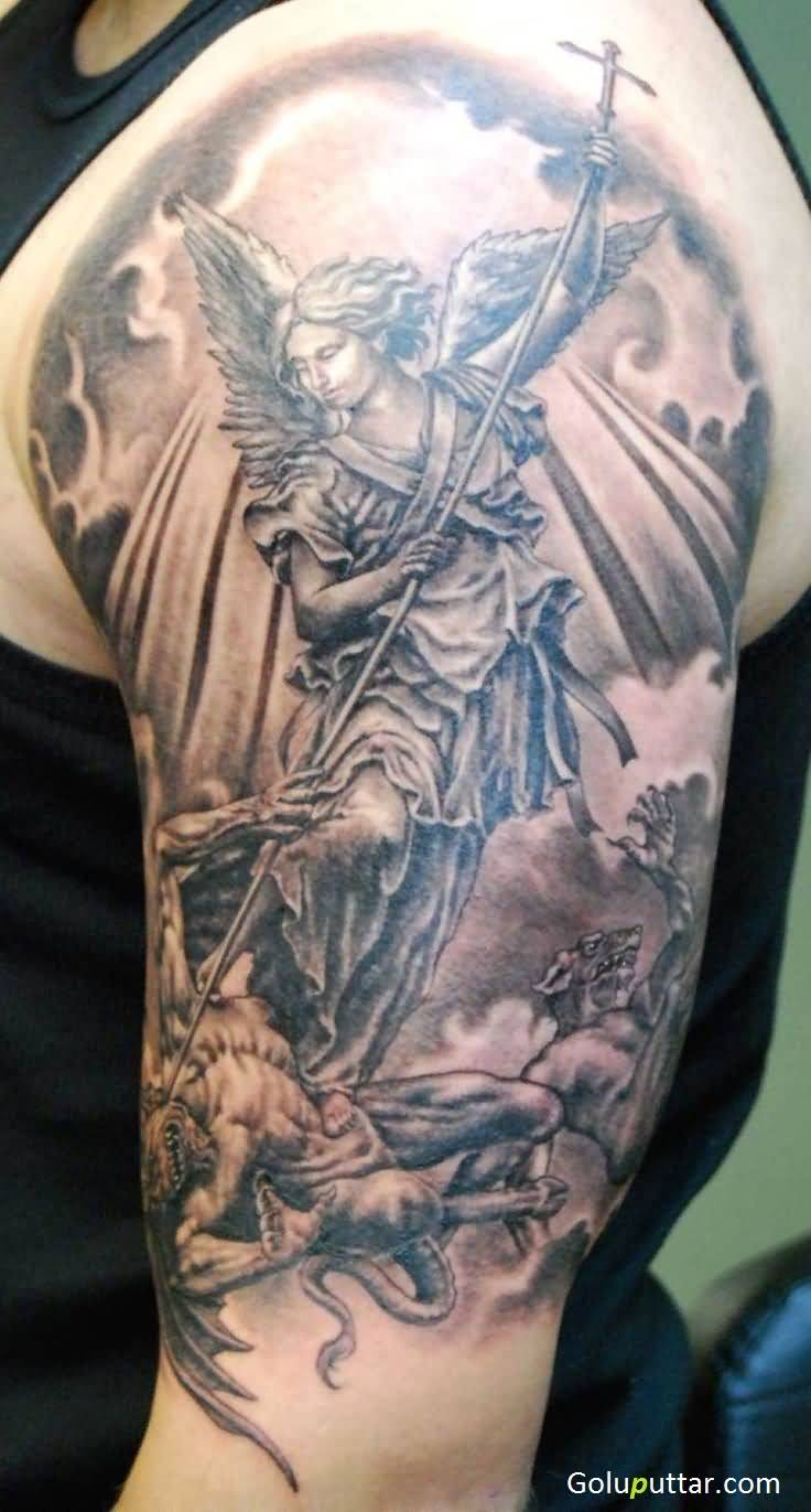 Fabulous angel warrior with cross tattoo photos and ideas for Warrior angel tattoos