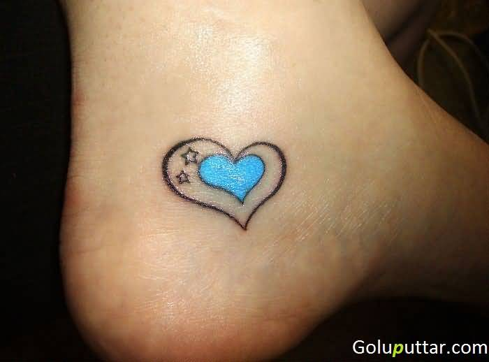 Fantastic Blue Heart Ankle Tattoo Made By Expert Goluputtar