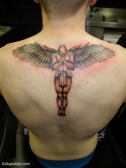 Fantastic Praying Angel Man Tattoo For Boy - Copy